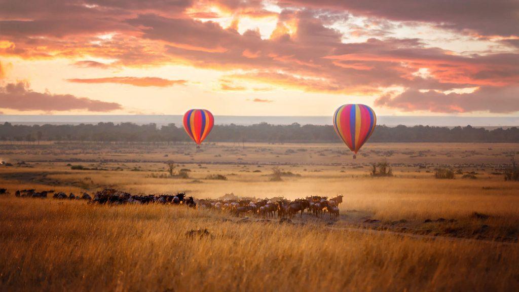 Kenya Tanzania experiences hot air balloon wildebeest family safari